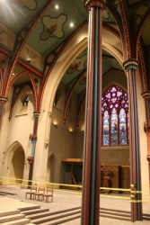 Restoration work will include structural masonry, structural timber work, an interior re-fit, and stained glass resotration.