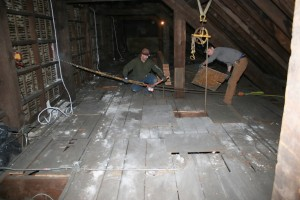 When the work starts 45 feet up in the air, just getting tools and materials into the work space is a challenge!