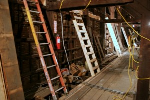 A series of access ladders and walkways will protect both the workers and the building.